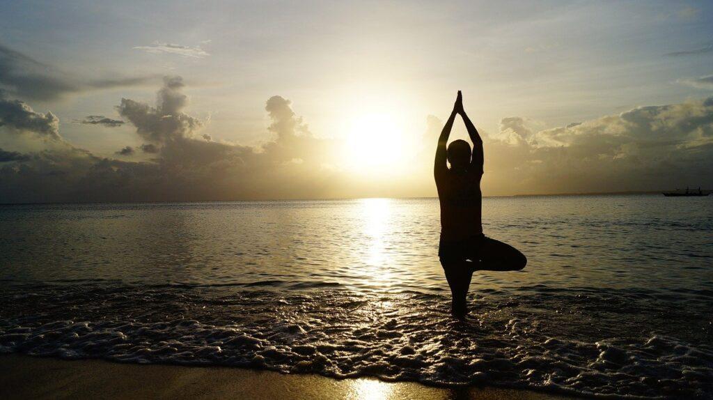 beach, sunset, yoga